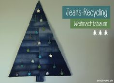 stitchydoo: Jeans-Recycling Weihnachtsbaum - Denimtanne mit Häkelsternen als Anhänger Jeans Recycling, Winter Food, Diy, Decor, Christmas Tree, Crafting, Action, Hand Crafts, Ideas