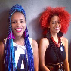 Thaiane Almeida e Neomisia Silveste  Foto: Nanda Cury  #HotPente #AfroTranscendence #BlueBoxBraids #RedCurls #NaturalHair