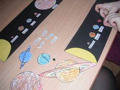 planets on long black strip of paper