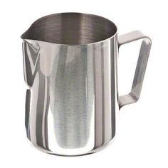 buy now   £2.10   Espresso-Milk Pitcher, 12 oz., 2-7/8″ dia., 3-3/4″H, 0.8 mm thick stainless steel Material:Stainless Steel; Weight: 199g;Size: 6.6×9.2x8cm2.6×3.6×3.1inches; Capacity:150mlHelp you turn your milk or cream into...