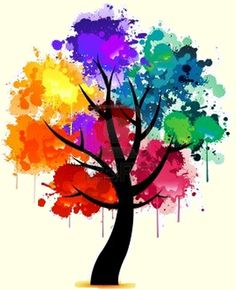 Tree of Life - color wheel tree Tattoo? Color Wheel Projects, Art Projects, Painting & Drawing, Color Wheel Art, Color Wheel Tattoo, Paint Splats, Arte Fashion, Aquarell Tattoo, Colorful Trees