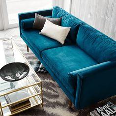 teal blue velvet sofa, peacock blue, sherwin williams marea baja