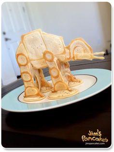 Ridiculous and wonderful.  Star Wars AT-At Walker Pancakes. via Craftzine.com blog, via jimspancakes.com