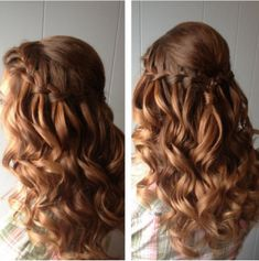 Beach wedding hair inspiration waterfall braid soft curls natural and gorgeous! Grad Hairstyles, Homecoming Hairstyles, Pretty Hairstyles, Braided Hairstyles, Wedding Hairstyles, Teenage Hairstyles, Formal Hairstyles, Curly Hair Braids, Wavy Hair