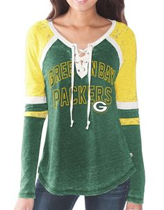 56f24449a Touch by Alyssa Milano Green Bay Packers Womens Laceup Long Sleeve Top  Packers Baby