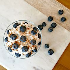 Cottage cheese, blueberry, and cinnamon make for a delicious breakfast! This one uses the new maple flavor from Hood!