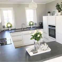 59 Inspiring Kitchen Cabinet Colors and Ideas ~ Beautiful House Home Decor Kitchen, Kitchen Interior, Kitchen Modern, Ikea Kitchen, Kitchen Living, Country Kitchen, Kitchen Ideas, Living Room, Grey Kitchens