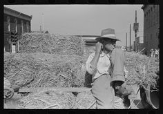 Farmer on a load of hay, farmers' market, Weatherford, Texas.