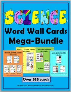 Science Word Wall Cards Mega-Bundle (Over 585 cards with colorful illustrations)