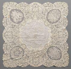 Handkerchief Date: 1853 Culture: Belgian (Brussels) Medium: Linen and cotton, needle lace (point de gaze), bobbin lace