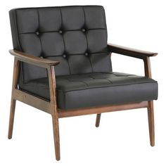 Mid-century modern furniture refuses to fade into the obscurity of the past - just one look at our Stratham Mid-Century Club Chair and it's easy to see why! A keen eye will spot the subtle curves of the wooden frame and button tufted detailing on the seat, which both emphasize the detail-oriented focus of mid-century designers.  The black faux leather seat is filled with foam cushioning for just the right level of comfort.  The Chinese-made modern living room chair is fully assemble...