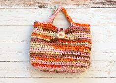 Boho Summer Rag Bag --- Crochet Basket Bag with a wooden Button --- Orange Pink Fabric Crocheted Purse --- Tagt Team
