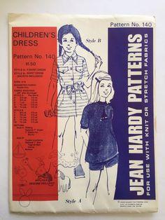 Vintage Jean Hardy Sewing Pattern 140 Children's Dress Uncut 1974 Sizes 2-10 #JeanHardyPatterns #TShirtDressandShirtDress