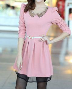 pink The new sweet doll Pan collar Slim thin big skirt dress - Fashion Clothing, Latest Street Fashion At Abaday.com