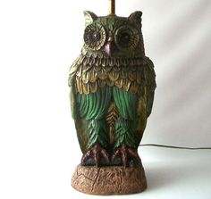 vintage owl lamp green gold retro home decor by RecycleBuyVintage, $98.00