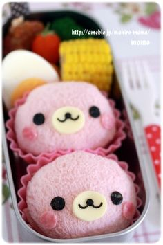 Find images and videos about cute, bento and rostinhos kawaii on We Heart It - the app to get lost in what you love. Japanese Bento Box, Japanese Food Art, Japanese Sweets, Cute Bento Boxes, Bento Box Lunch, Bento Food, Mochi, Cute Food, Yummy Food