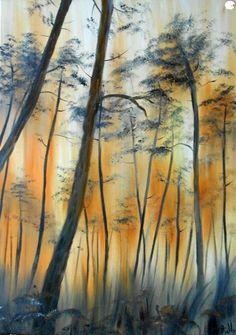 """Tableau """"Soleil levant dans la forêt des Landes"""""""