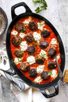 Eggplant Parmesan Meatballs | Dishing Out Health Healthy Eggplant, Eggplant Parmesan, Eggplant Recipes, Vegetarian Meatballs, Parmesan Meatballs, Vegetarian Recipes, Vegan Meals, Eggplant Meatballs, Meatball Sauce