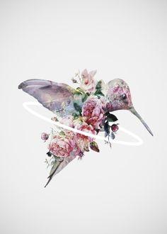 Tatouage colibri en fleur