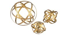 Crafted with steel ribbon and a gleaming golden finish, these abstract orbs immediately draw the eye.