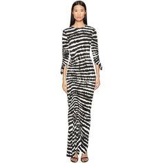 Preen by Thornton Bregazzi Philomena Long Long Sleeve Dress (Black... ($489) ❤ liked on Polyvore featuring dresses, long sleeve asymmetrical dress, long sleeve ruched dress, sheath dresses, tie-dye dress and 3 4 sleeve sheath dress