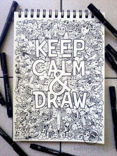 A special doodle for a t-shirt design concept. UPDATE: This artwork is now for sale as art prints on my shop! DOODLE ART: Keep Calm And Draw Amazing Drawings, Cool Drawings, Amazing Art, Awesome, Doodle Inspiration, Doodle Ideas, Doodle Art, Drawn Art, Love Art