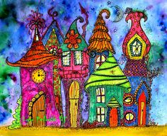 Whimsical Fairy Houses Artist: Lyn Pollock 'Hands of Energy' Coloured with acrylic inks Brusho background Doodling:Zen Tangling