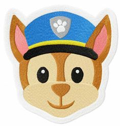 Chase Face Paw Patrol machine embroidery design from Paw Patrol collection. Add this project to the shirt. Embroidered Pillowcases, Embroidered Cushions, Bernina Embroidery Machine, Machine Embroidery Designs, Painting For Kids, Painting Art, Man Pillow, Photo Stitch, Rock Painting Designs