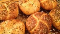 A New York State favorite, a kimmelweck roll is a hard roll similar to a crusty Kaiser roll, sprinkl Roll Recipe, Hard Rolls, Bread Recipes, Cooking Recipes, Recipe Directions, Thing 1, Yeast Bread, Bread Rolls, Brot