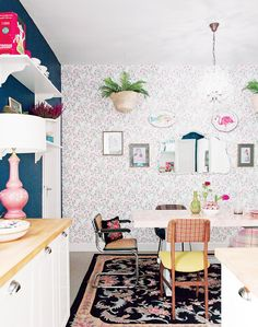 Inside a Groovy Pad Fit for a Queen// eclectic kitchen, colorful kitchen, wallpaper in kitchen