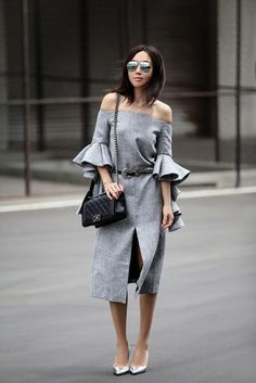 Dress: fit fab fun mom, blogger, mirrored sunglasses, grey dress, off the shoulder dress, ruffle, ruffle dress, front slit, slit dress, elegant dress, chanel bag, chain bag, western belt, silver shoes, pointed toe pumps - Wheretoget