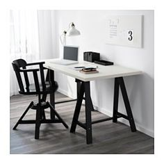 IKEA - LINNMON / ODDVALD, Table, white/black, , Pre-drilled leg holes for easy assembly.Solid wood is a durable natural material.