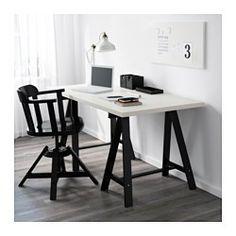 IKEA - LINNMON / ODDVALD, Tafel, wit/zwart, , Voorgeboorde gaten voor poten; eenvoudig te monteren.Massief hout is een slijtvast natuurmateriaal.
