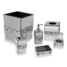 This mirrored bath ensemble is decorated with acrylic beads in a beautiful motif. Unique bath ensemble will enhance and brighten your bathroom and coordinates well with both modern and traditional bathroom decor. Bling Bathroom, Bathroom Sets, Master Bathroom, Bathroom Crafts, Downstairs Bathroom, Tissue Box Covers, Tissue Boxes, Bathroom Assessories, Soap Dispensers