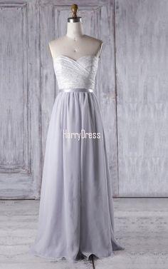 Silver A Line Sweetheart Lace Chiffon Floor Length Sashes Ribbons Bridesmaid Dress