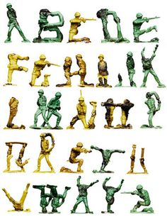 I had a similar idea to create a typeface by photographing a birds eye view of toy soldiers lined up like dominoes in the shape of letters.