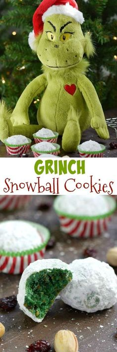 Grinch Snowball Cookies are buttery, delicious
