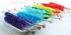 Colorful Rock Candy Crystal Sticks from Temptation Candy! Great for a colorful party or candy buffet.
