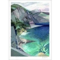 """HILAIRE Camille - Lithographie Originale """"Côte d'Azur, Eze"""" 50x37cm"""