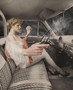 "djinn-gallery: ""julia lillard PRNDL "" It's a car thing Collages, Surreal Collage, Collage Art, Collage Illustration, Illustrations, Photoshop, Photocollage, Arte Pop, Pics Art"