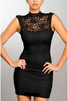lace high neck fitted dress with open back.92% nylon,8% spanLegnth: 32 Inches.Runs True To Size.