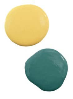 Yellow and Teal Paint Colors I bought these colors yesterday @ Lowes I also added a lighter teal color. My colors are :Valspar - Pale daffodil , Olympic -Teal Zeal  & Olympic- Aqua Bay. A Murphy