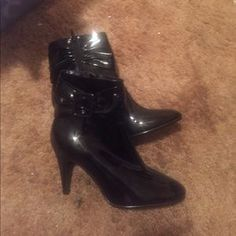 I just discovered this while shopping on Poshmark: Black patent booties. Check it out! Price: $8 Size: 7.5, listed by andreacaison