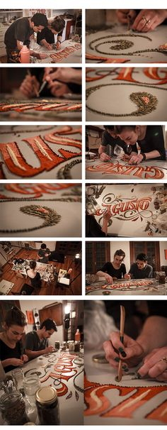 """Panco Sassano (Graphic Designer/Illustrator), Anna Keville Joyce (Food Stylist/Illustrator), and Agustín Nieto (Photographer) team up to create a new, interdisciplinary food art and design project that incorporates various techniques of typography, food styling, and the illustrative Argentine art form of """"fileteado"""".   A gusto on Behance"""