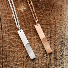 Fingerprint Bar Pendants custom made for you by Dimples Charms Couple Necklaces, Couple Jewelry, Premier Designs Jewelry, Jewelry Design, Mens Necklace Personalized, Promise Necklace, Bff, Fingerprint Necklace, Couple Items