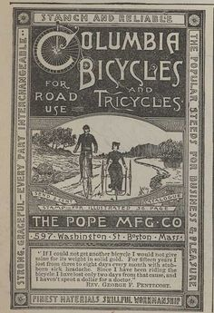 1884 Pope Bicycle & Tricycle Ad
