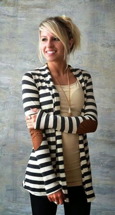 Adorable comfy elbow patch stripes cardigan