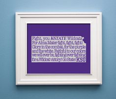 Kansas State Wildcat State Print by KenmoreHouse on Etsy, $12.00- I love this and I have been looking for something like this for a while.
