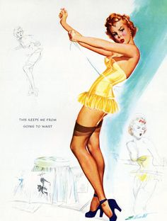 Freeman Elliot pinup artist, born in 1922 in a suburb of Chicago, IL He served in the Navy in World War ll.
