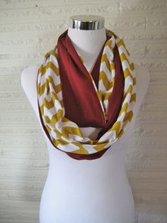 LONG Crimson Burgundy Red and Gold Chevron Scarf by ChevronScarf on Etsy